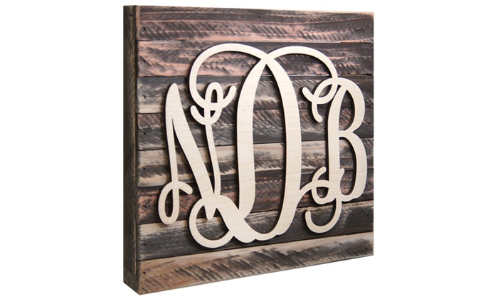 "aMonogram Art: Natural or Painted Monogram Mounted on a 24""x24"" Wooden Board from aMonogram Art (50% Off)"