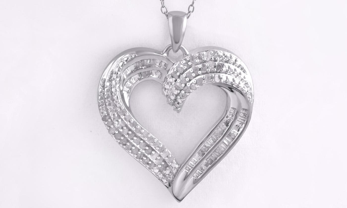 Brilliant Diamond 1/2 CTTW Diamond Heart Pendant Sterling Silver