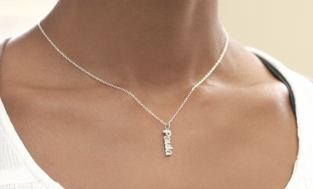Personalized SterlingSilver Vertical Mini Name Necklace with Optional Gold Plating from Monogram Online (75% Off)