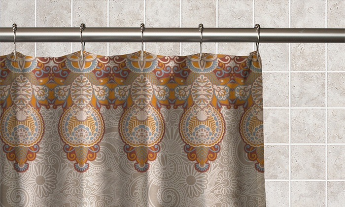 Paisley And Medallions Printed Fabric Shower Curtain With Matching Roller  Hooks