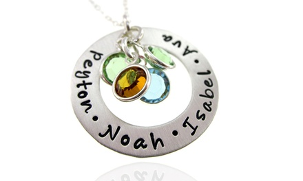Custom Hand-Stamped Circle of Love Sterling Silver and Birthstone Necklace from AJ's Collection