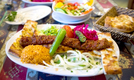 Two-Course Turkish Meal with Warm Turkish Bread and Olives for Two or Four at AĞA Mezze Palace (Up to 54% Off)
