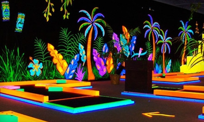 Glowgolf - Multiple Locations: Unlimited Rounds of Glow in the Dark Mini Golf During One Visit for Two or Five at Glowgolf (Up to 57% Off)
