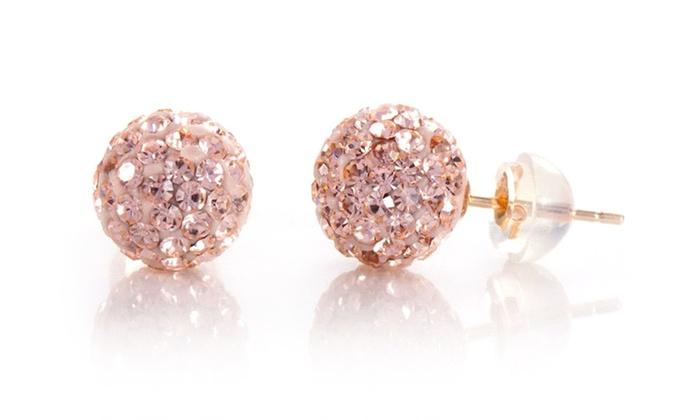 14k Gold Swarovski Elements Crystal Ball Stud Earrings Groupon