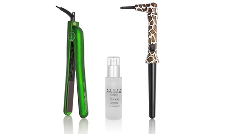 Flat Iron, Curler, and Hair Serum Set