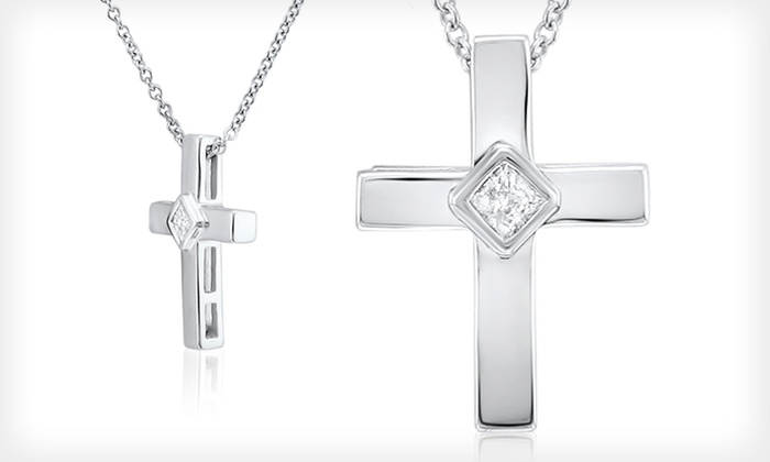 Diamond and White Gold Cross Necklace: $99.99 for a Diamond and 10-Karat White Gold Cross Necklace ($229.99 List Price). Free Shipping and Returns.