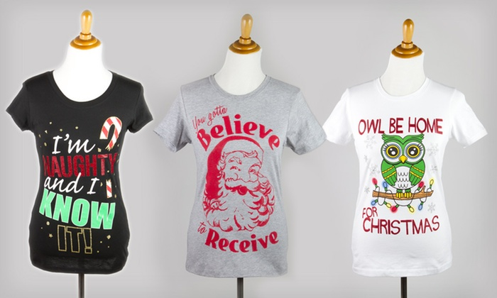 Women's Holiday T-shirts: $5 for a Women's Holiday T-shirt in S–XXL ($19.99 List Price). Three Styles Available.