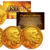 24K Gold-Plated 1913-36 Indian Head Buffalo Nickel Coins (Lot of 3)