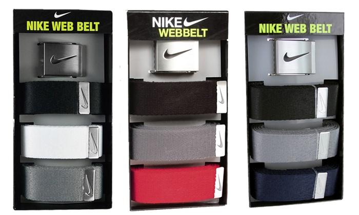 Nike Golf Men's Cotton Web Belts: Nike Golf Men's Cotton Web Belts (3-Pack)