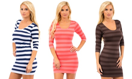 3/4 Length Sleeve Striped Dress