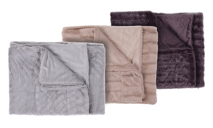 Reversible Faux Mink Fur Throw