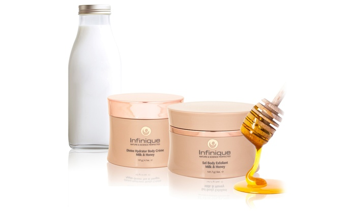 Infinique Milk and Honey Body Exfoliant and Body Cream Set