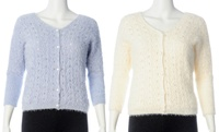 GROUPON: Junior Open Pointelle Stitch Cardigan Sweaters Junior Open Pointelle Stitch Cardigan Sweaters