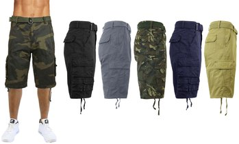 Men's Belted Slim-Fit Cargo Pocket Shorts(Sizes 30-42)