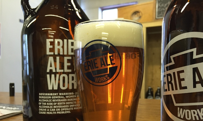 Erie Ale Works - West Erie: Beer Flights and Branded Pint Glasses for Two or Four at Erie Ale Works (Up to 55% Off)