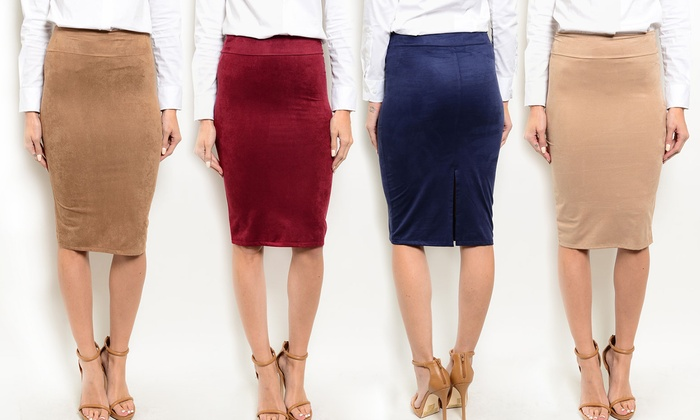 Faux-Suede Stretch Pencil Skirt | Groupon Goods