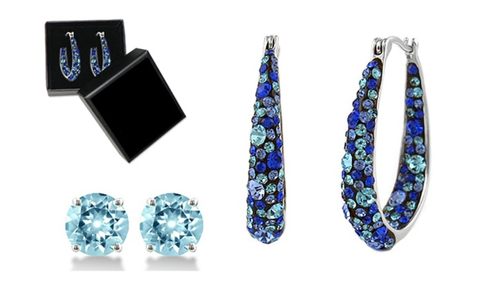 f6be56a22 Blue Inside Out Hoops in 18K White Gold-Plating Made with Blue Swarovski  Crystal by Mina Bloom