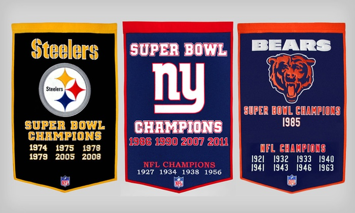 $46.99 for a Winning Streak NFL Dynasty Flag Banner. 17 Teams Available. Free Shipping and Returns