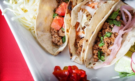 Mexican Dinner, or Four Groupons, Each Good for an All-You-Can-Eat Taco Lunch at Mezcal Cantina (Up to 55% Off)