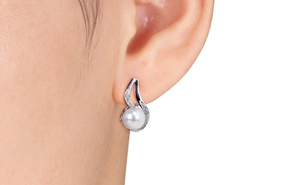 0.06 CTTW Diamond and 9–9.5mm Freshwater Pearl Sterling Silver Earrings