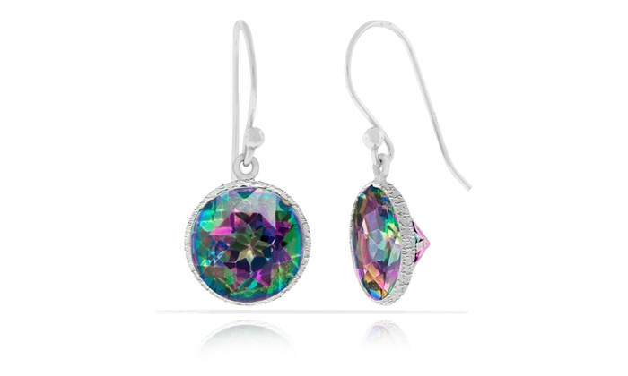 earrings stud trillion women pin sterling silver rainbow genuine mystic topaz