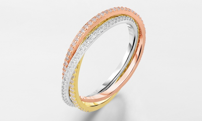 3/4-Carat Diamond 3-Tone Rolling Eternity Ring in 14-Karat Gold: 3/4-Carat Diamond 3-Tone Rolling Eternity Ring in 14-Karat Gold. Free Shipping and Returns.