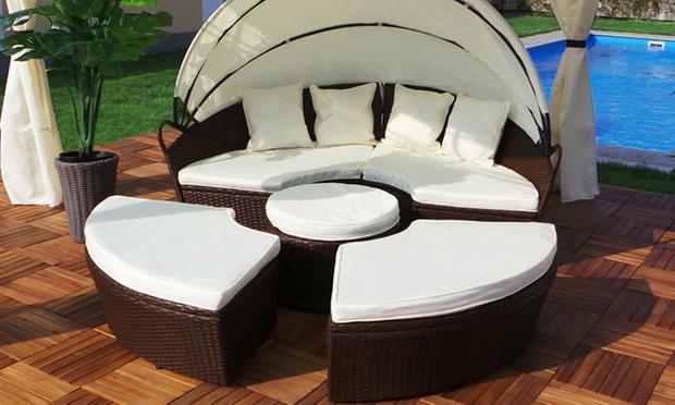 sonneninsel 180 cm von swing harmonie poly rattan mit auflagen kissen schwarz ebay. Black Bedroom Furniture Sets. Home Design Ideas