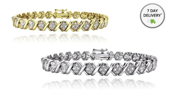 1 CTTW Diamond Tennis Bracelet: 1 CTTW Diamond Tennis Bracelet in Gold or Silver Tone. Free Returns.