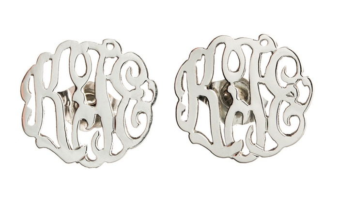 Luce Mia: $39.99 for Personalized Sterling Silver Monogrammed Earrings from Luce Mia ($118 Value)