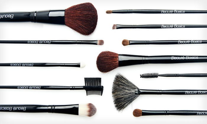 Beauté Basics 12-Piece Makeup-Brush Set: $19.99 for a Beauté Basics 12-Piece Professional Brush Set with a Leopard-Print Case ($79.95 List Price). Free Shipping.