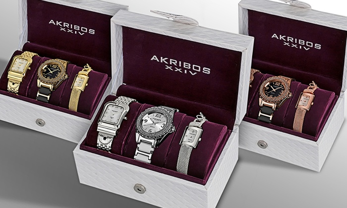 Set of Three Women's Watches with Diamond Accents: Set of Three Women's Watches with Diamond Accents. Multiple Styles Available. Free Shipping and Returns.