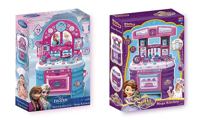 הנסיכות אנה, אלזה וסופיה מבשלות  מטבח דו-צדדי ענק ומאובזר לילדות עם הנסיכה סופיה ואנה ואלזה מ- Frozen רק ב-189 ₪