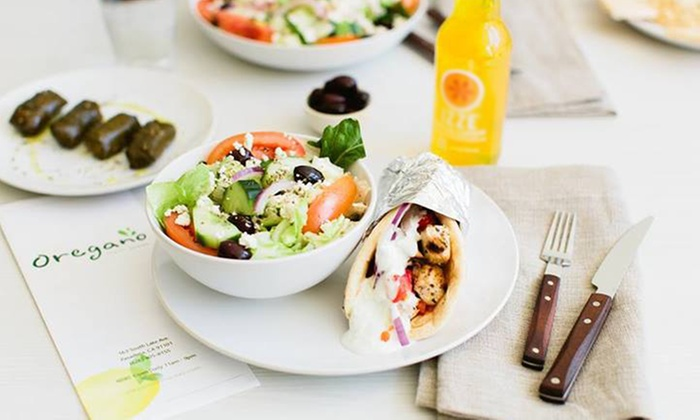 Oregano Fresh Greek - South Lake: Gyro Sandwiches with Sides and Drinks for Two or Four at Oregano Fresh Greek (Up to 53% Off)