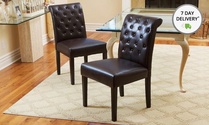 Set of 2 Elliston Tufted Brown Bonded Leather Dining Chairs: Set of 2 Elliston Tufted Brown Bonded Leather Dining Chairs