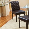 Set of 2 Elliston Tufted Brown Bonded Leather Dining Chairs