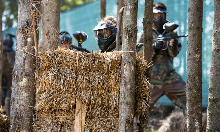 Pev's Paintball - Aldie: All-Day Play and Equipment Rental for Three at Pev's Paintball (Up to 84% Off). Two Options Available.