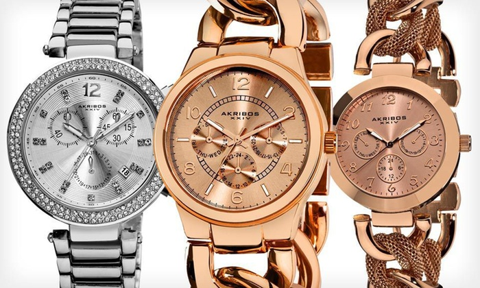 Akribos XXIV Ladies' Fashion Link Multi-Function Watches: Akribos XXIV Women's Watches (Up to 89% Off). 12 Styles Available. Free Shipping and Free Returns.