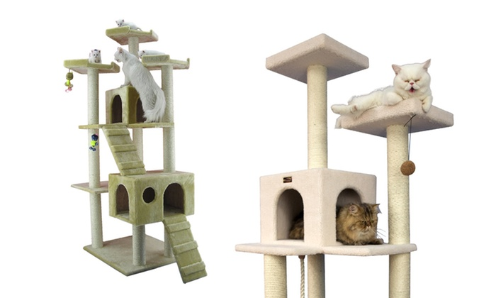 """Deluxe Cat Trees: 57"""", 65"""", or 74"""" Deluxe Cat Tree. Free Shipping and Returns."""