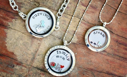 Round Locket with a Custom Hand-Stamped Plate from Stamp the Moment. Multiple Styles from $19.99–$24.99.