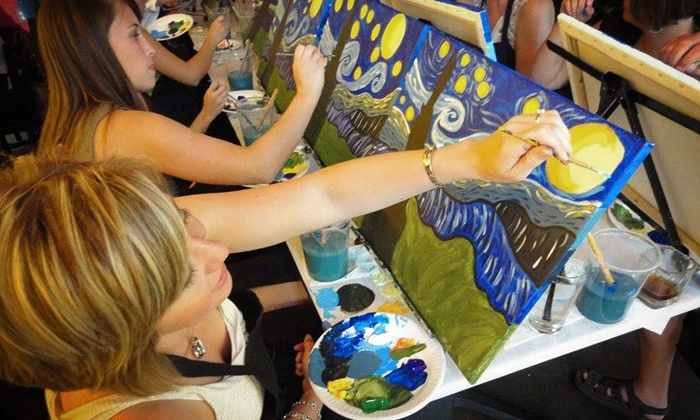 Wine and Palette - Multiple Locations: $17 for a Painting Class at Wine and Palette ($35 Value)