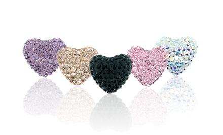 14K Gold and Swarovski Elements Heart Stud Earrings