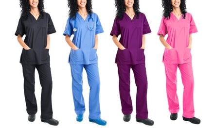 Green Town Women's Scrubs Top and Bottoms in Petite and Plus Sizes