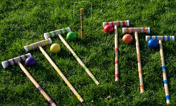 complete 9 wicket croquet set with carrying case complete 9 wicket croquet set with carrying - Croquet Set