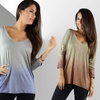 3/4 Sleeve V-Neck Front and Back Ombre Top