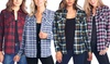 Women's Junior Long-Sleeve Casual Plaid-Print Flannel Button-Up Top