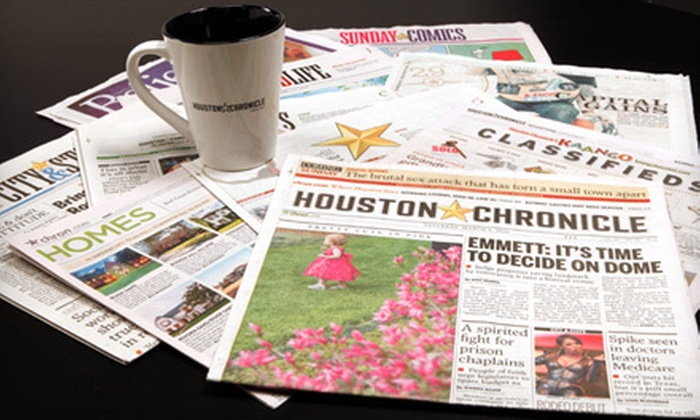 """Houston Chronicle - Schenectady: 13 or 26 Weeks of Wednesday–Sunday """"Houston Chronicle"""" Home Delivery (53% Off)"""