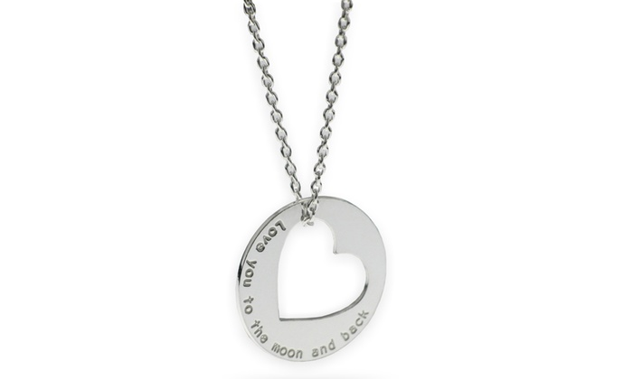 SilvexCraft Design: Engraved Circle and Heart Necklace in Sterling Silver from SilvexCraft Design