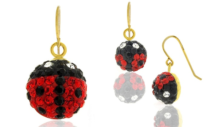 Kids 14k Solid Gold Crystal Ladybug Earrings With Swarovski Elements