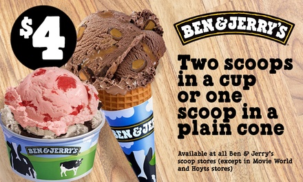 Ben & Jerry's $4 for Two Scoops in a Cup or One Scoop in a Cone, 12 Locations Up to $7.70 Value