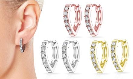 One, Two or Three Pairs of Philip Jones Huggie Hoop Earrings with Crystals from Swarovski®